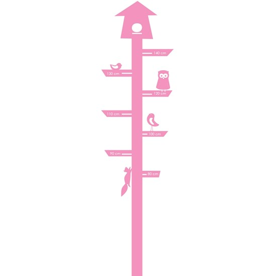 Sne Design Wallsticker, Mätsticka, Bird House, Pink