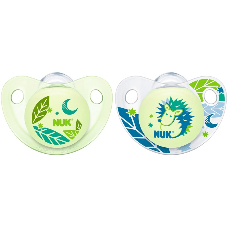 Läs mer om NUKNapp, Night & Day, Glow in the dark, Strl 2, Silikon, 2-pack, Blå/grön