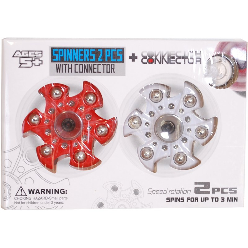 Läs mer om Fidget SpinnerMed connector, 2-pack, Röd/Vit