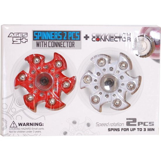 Fidget Spinner Med connector, 2-pack, Röd/Vit