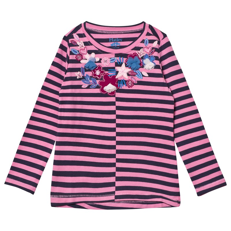 HatleyPink and Navy Floral Applique Stripe Long Sleeve Tee2 years