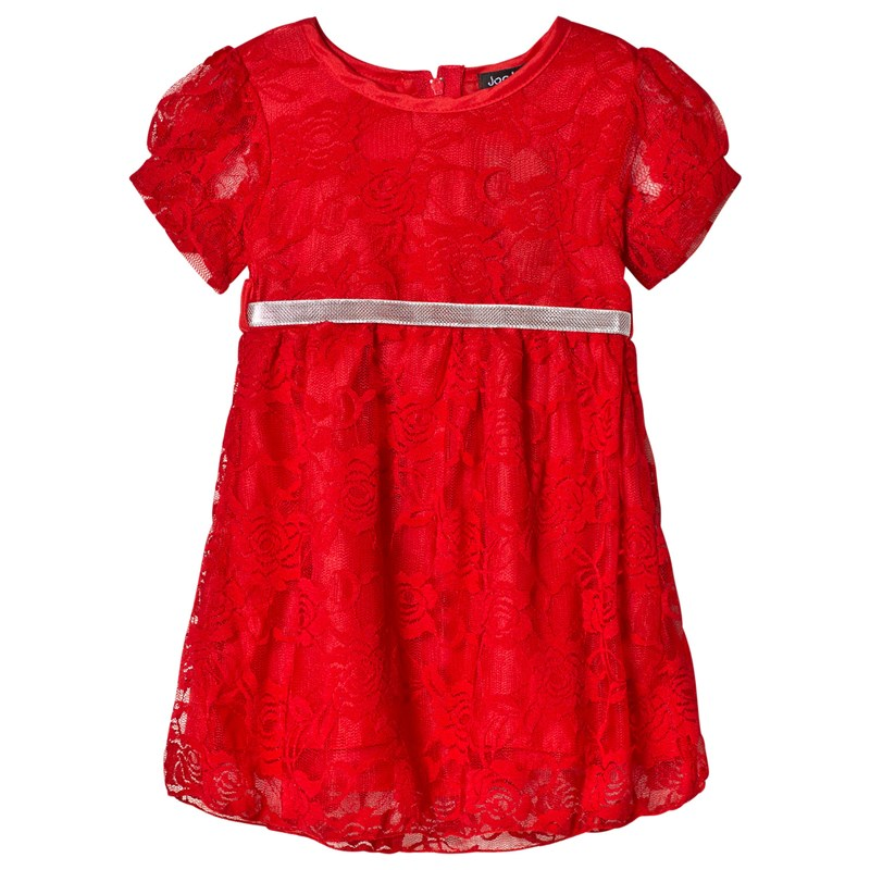 Jocko Baby christmas dress in red lace with silver belt 80 cm