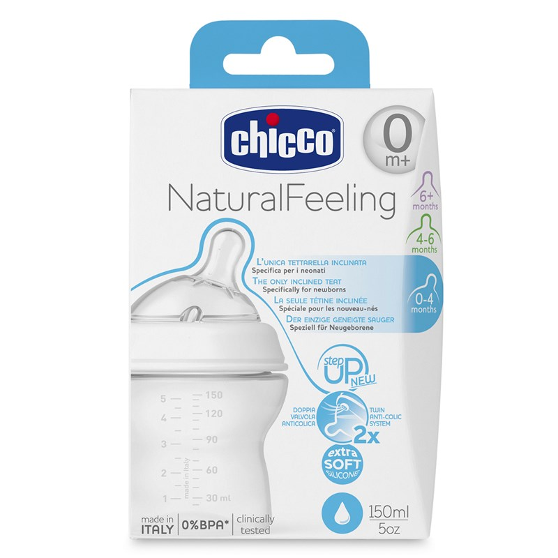 Chicco Natural Feeling Nappflaska 0+ 150 ml One Size
