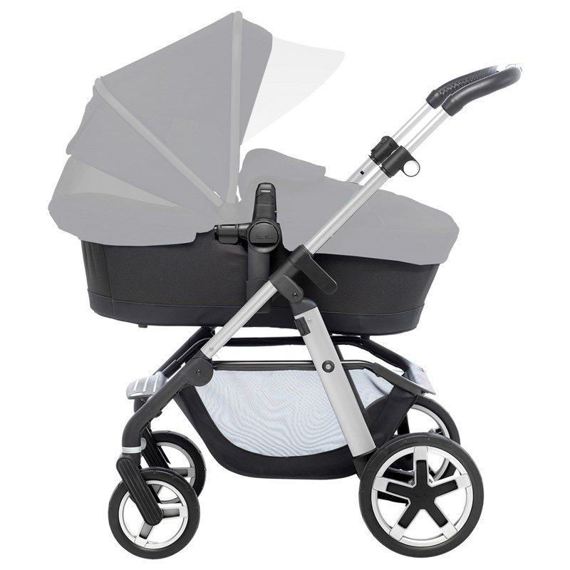 Silver CrossPioneer Duo Stroller Chrome Chassi and Black Carrycot/Seat