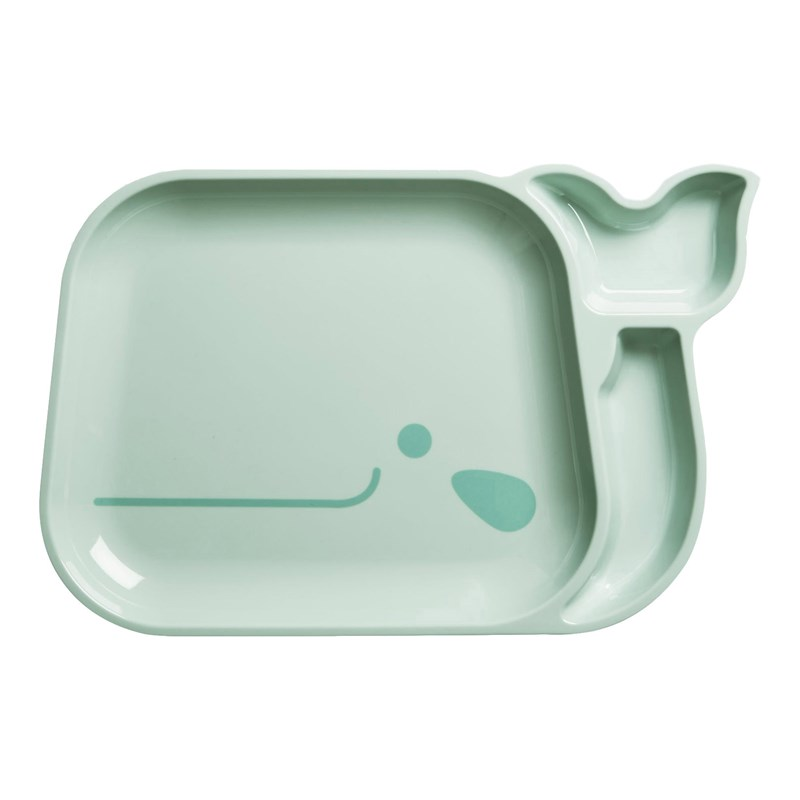 Rice Kids 3 Room Whale Plate Blue