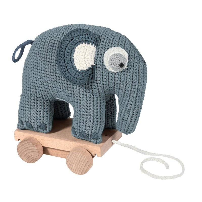sebra Pull Along Elephant Cloud blue One Size