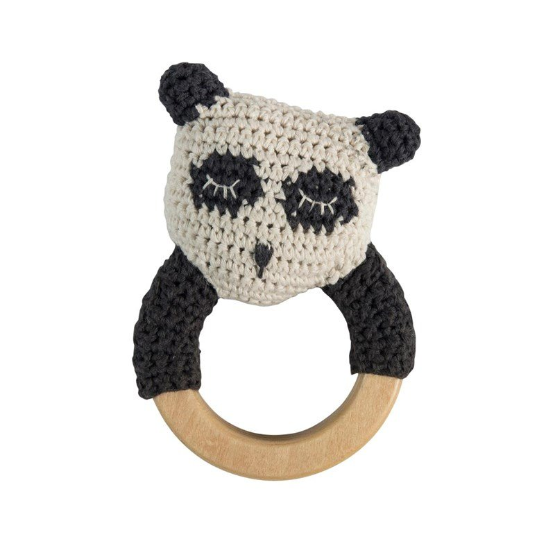 sebra Crochet Rattle Panda on Wooden Ring One Size