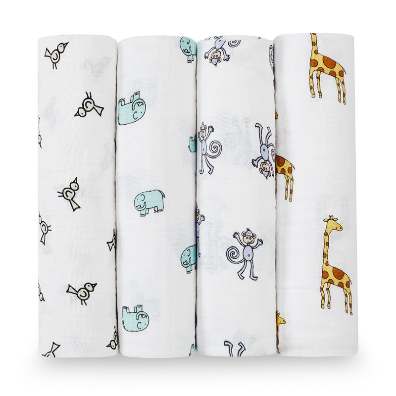 Aden + Anais 4-Pack Swaddles Jungle Jam One Size