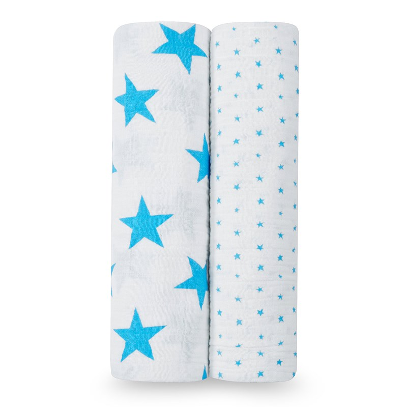 Aden + Anais 2-Pack Swaddles Blue Star One Size