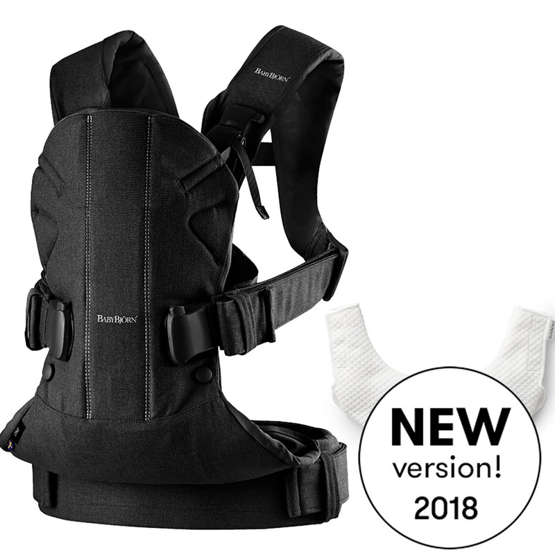 BabyBjörn Baby Carrier One Bärsele Black Cotton Mix med Haklapp 2018 One Size