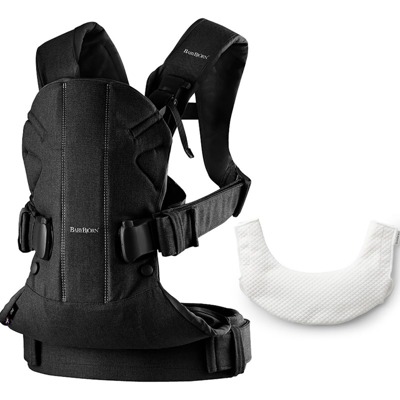 BabyBjörnBaby Carrier One Bärsele Black Cotton Mix med Haklapp 2018