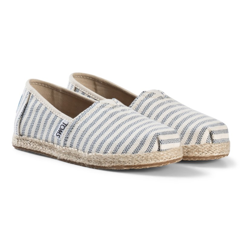 Toms Stripe Woven Espadrilles with Rope Sole Blå 31 (UK 12)