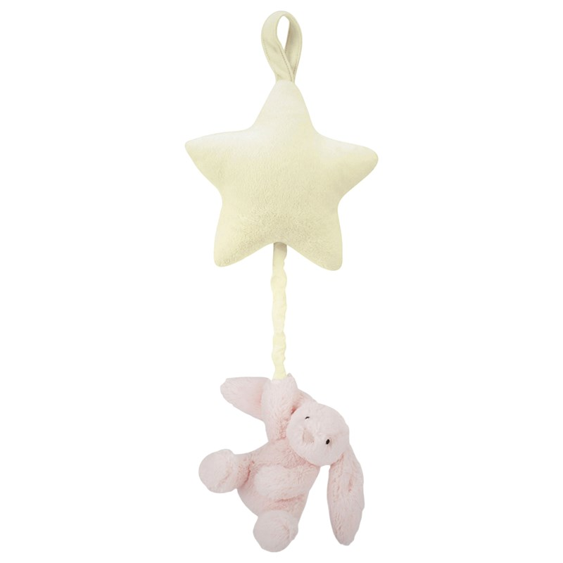 Jellycat Bashful Bunny Star Musical Pull Rosa Rosa