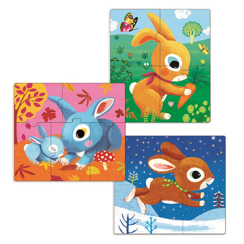 Djeco Rabbit Pussel 3-Pack One Size