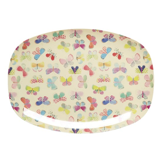 Rice Rectangular Melamine Plate with Butterfly Print