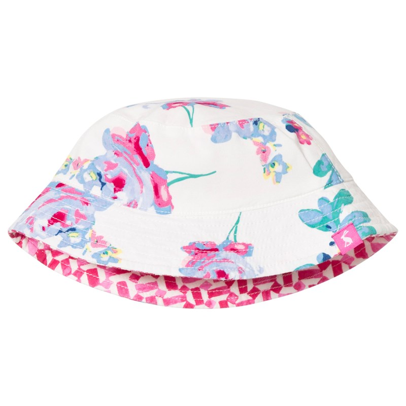 Joules Reversible Pink Infants Solhatt Cream Floral 6-12 months