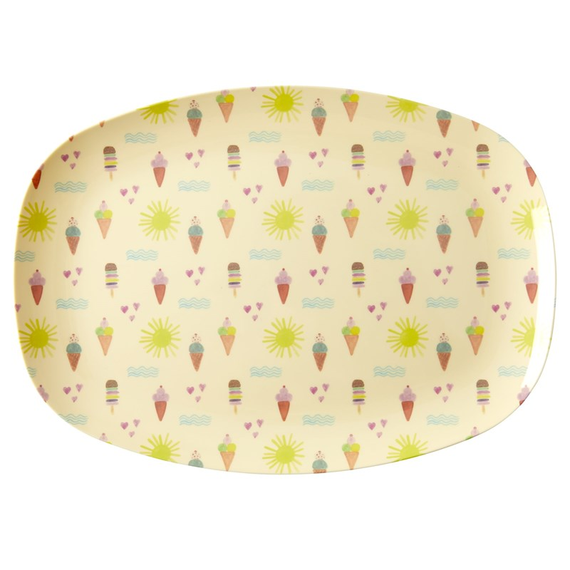 Rice Melamine Rectangular Plate with Summer Print One Size