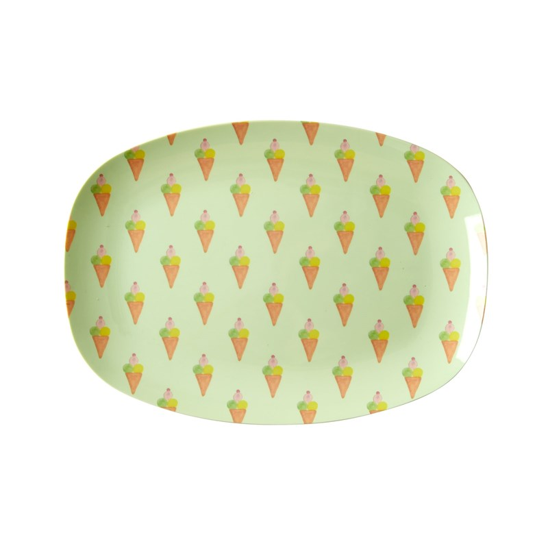 Rice Melamine Rectangular Plate with Ice Cream Print Small One Size