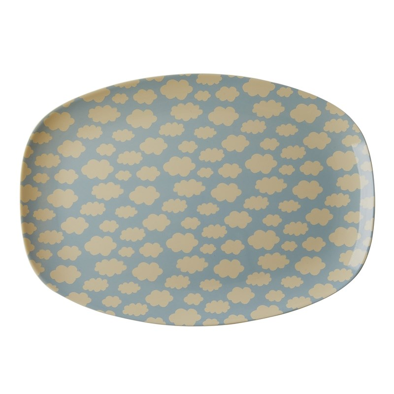 Rice Melamine Rectangular Plate with Cloud Print One Size