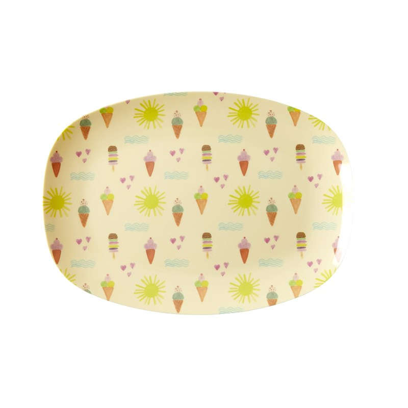 Rice Rectangular Melamin Plate with Summer Print Small