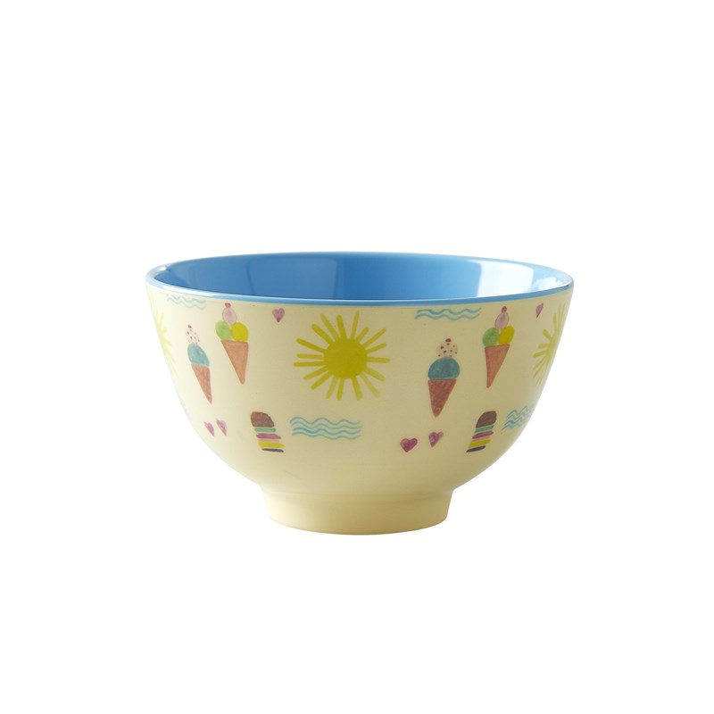 Rice Melamine Bowl with Summer Print Two Tone Small One Size