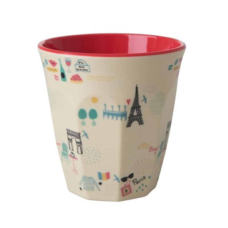 Rice Melamine Medium Cup Two Tone with Paris Print One Size