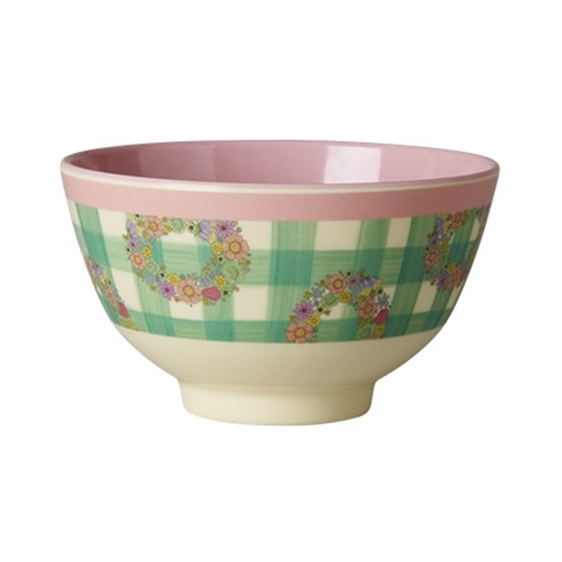 Rice Melamine Bowl Two Tone with Vichy Print One Size