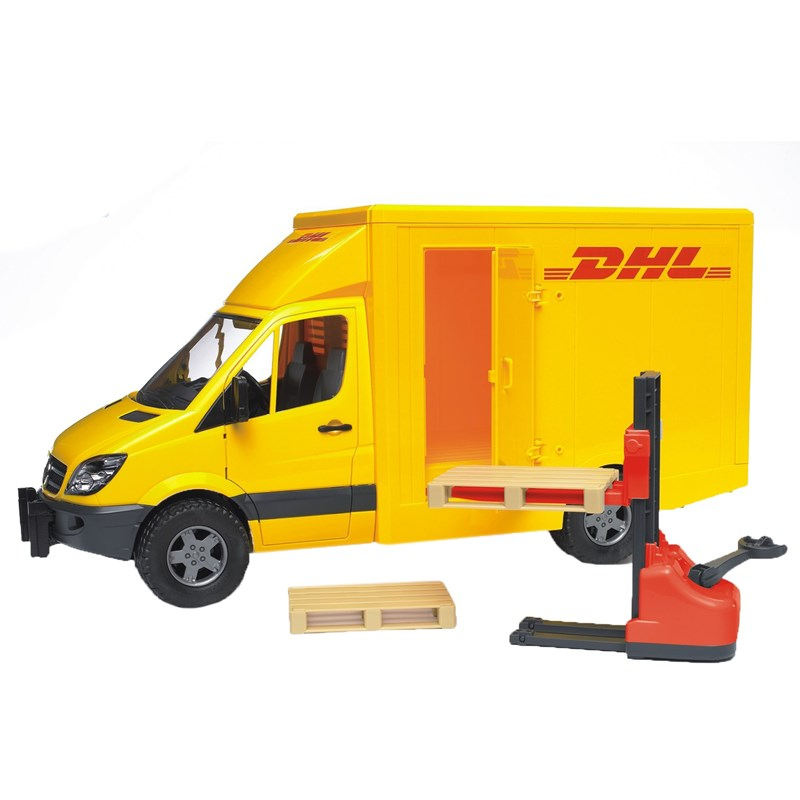 Bruder MB Sprinter DHL with hand pallet truck med 2 pallar 3 – 8 years