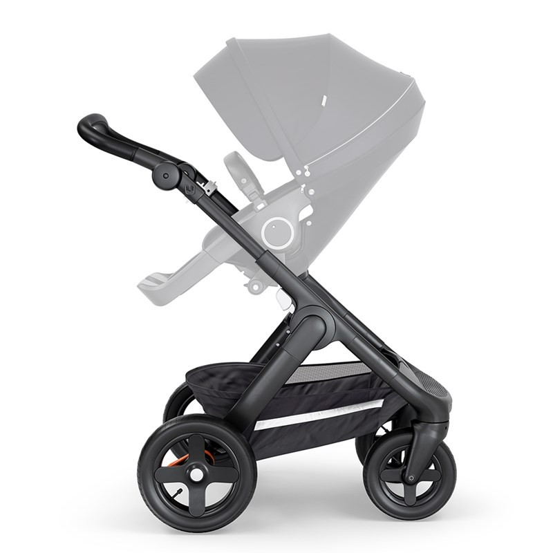 StokkeStokke Trailz Black Chassis w/tarrain wheels/black Leatherette handle