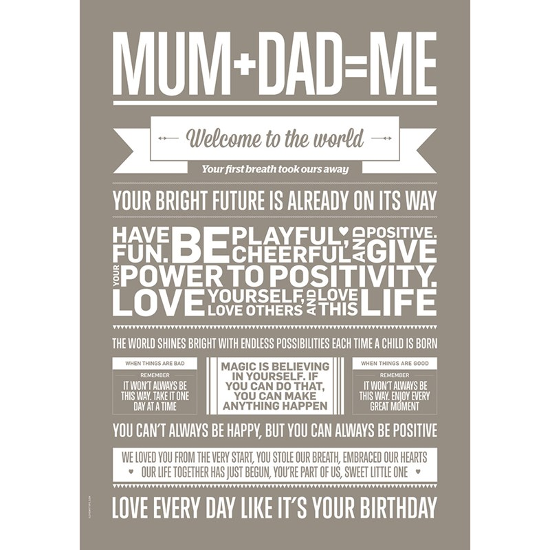I Love My Type Mum Dad Me Poster Sand One Size
