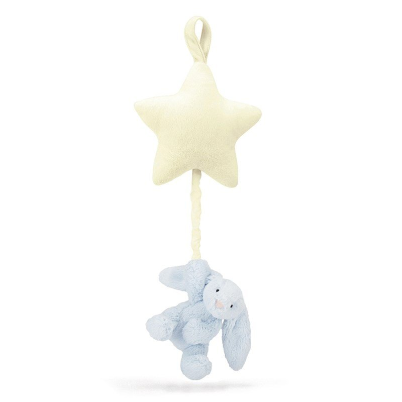 Jellycat Bashful Blue Bunny Star Musical Pull One Size