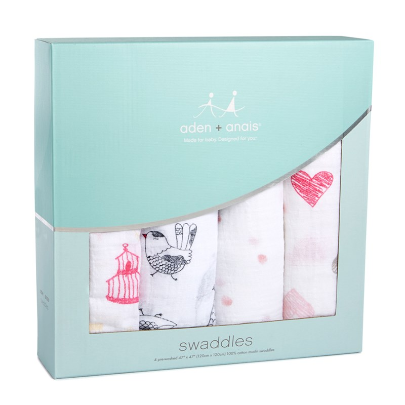 Aden + Anais 4-Pack Swaddles Lovebird One Size