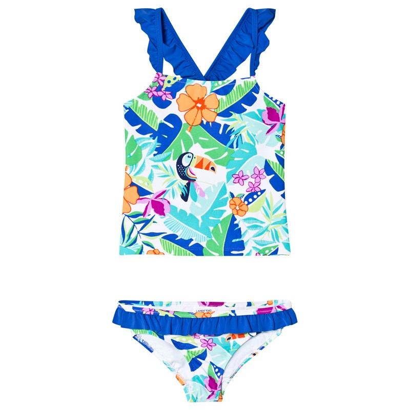 Lands' End Floral Ruffle Trim Tankini 10-11 years