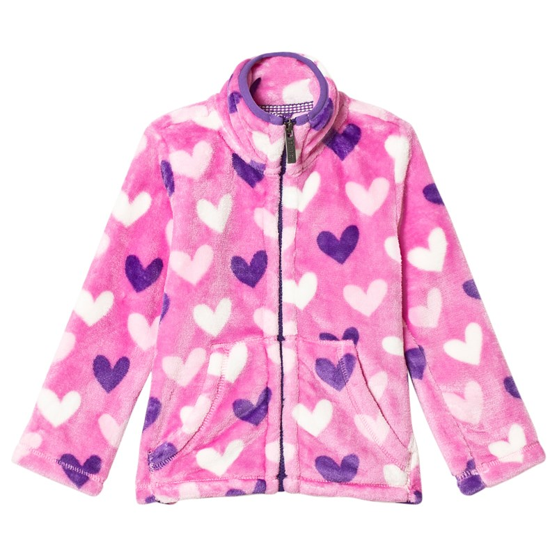 Pink with Multicolour Hearts Fuzzy Fleece Trøje4 years