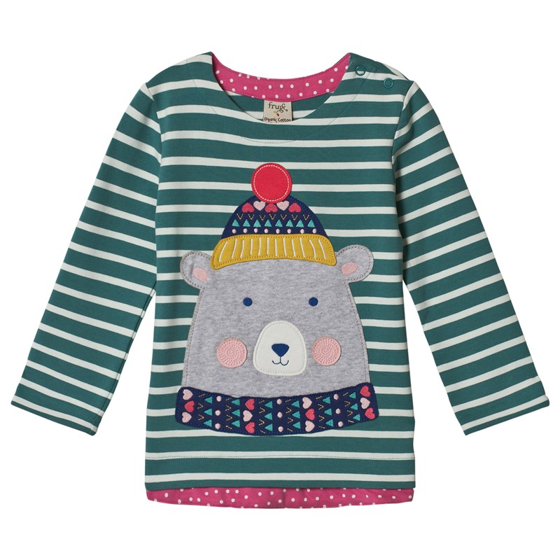 Frugi Alana T-Shirt Blue Breton/Bear 9-10 years