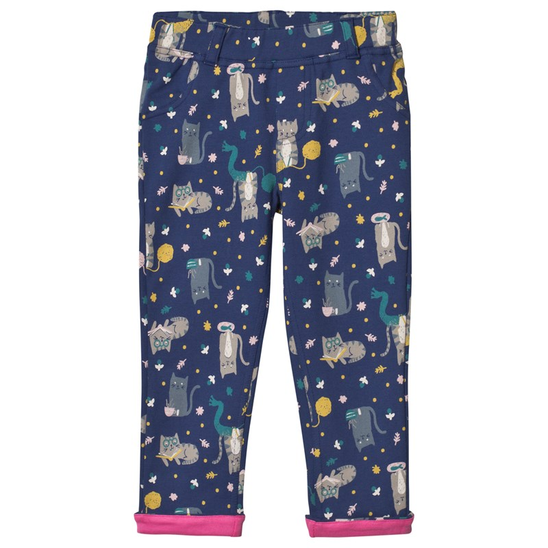 Frugi All Over Cats Byxor Marinblå 8-9 years