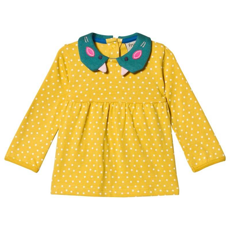 Frugi Mustard Spotted Collared Top 3-6 months