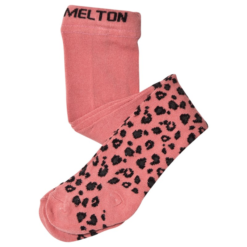 Melton Basic Stickade Strumpbyxor Leopard Rosa 3-4 Years