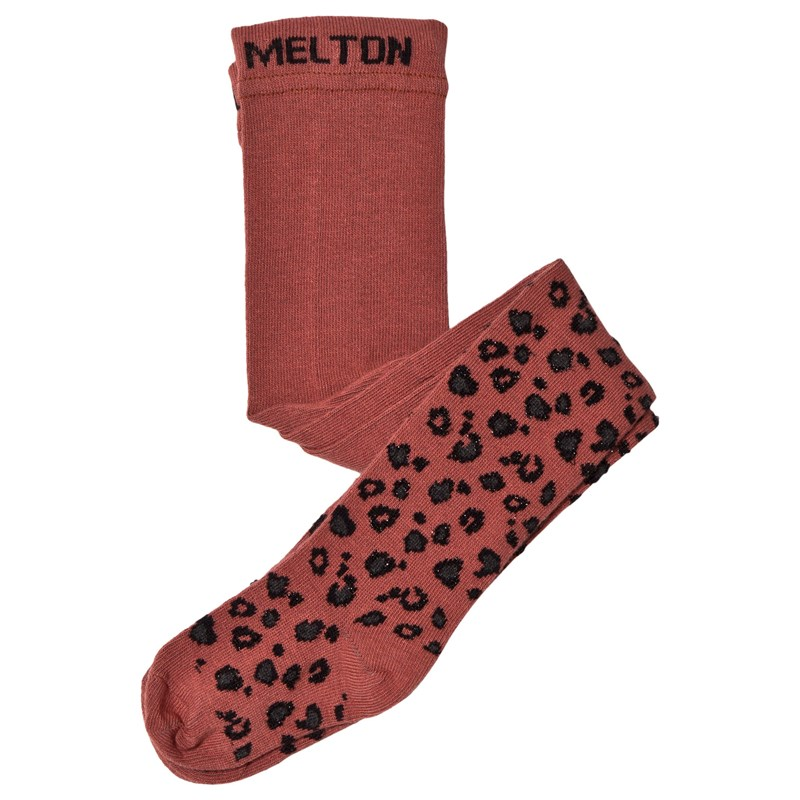 Melton Basic Stickade Strumpbyxor Leopard Orange 56-62