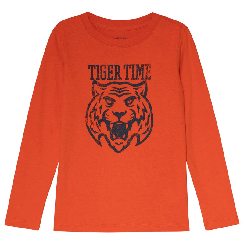 Lands' End Tiger Time Långärmad T-Shirt Orange 5-6 years