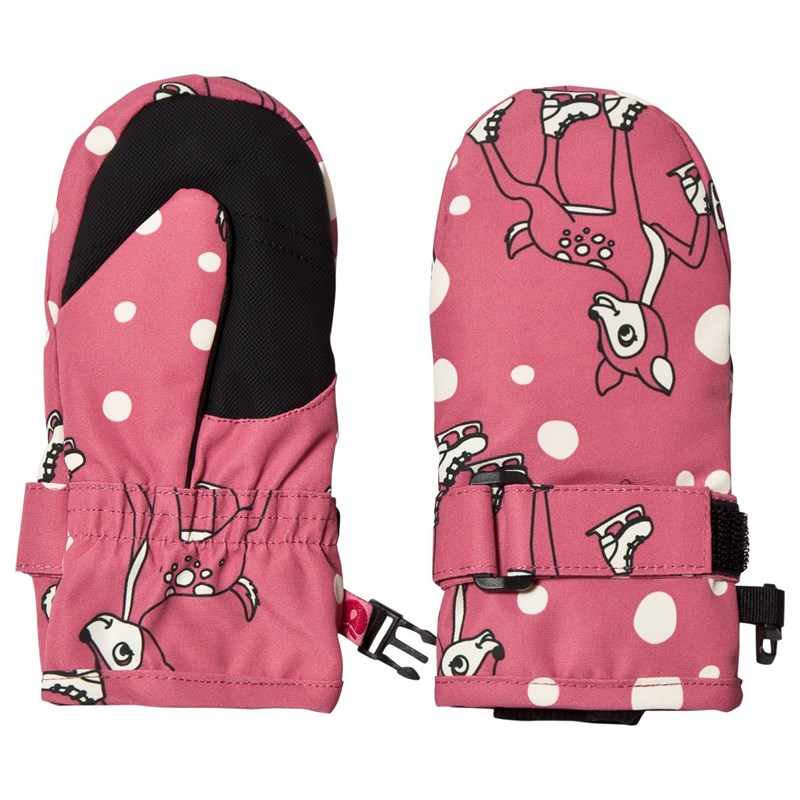 Småfolk Vantar Pink Skating Deer Print L (6 years+)