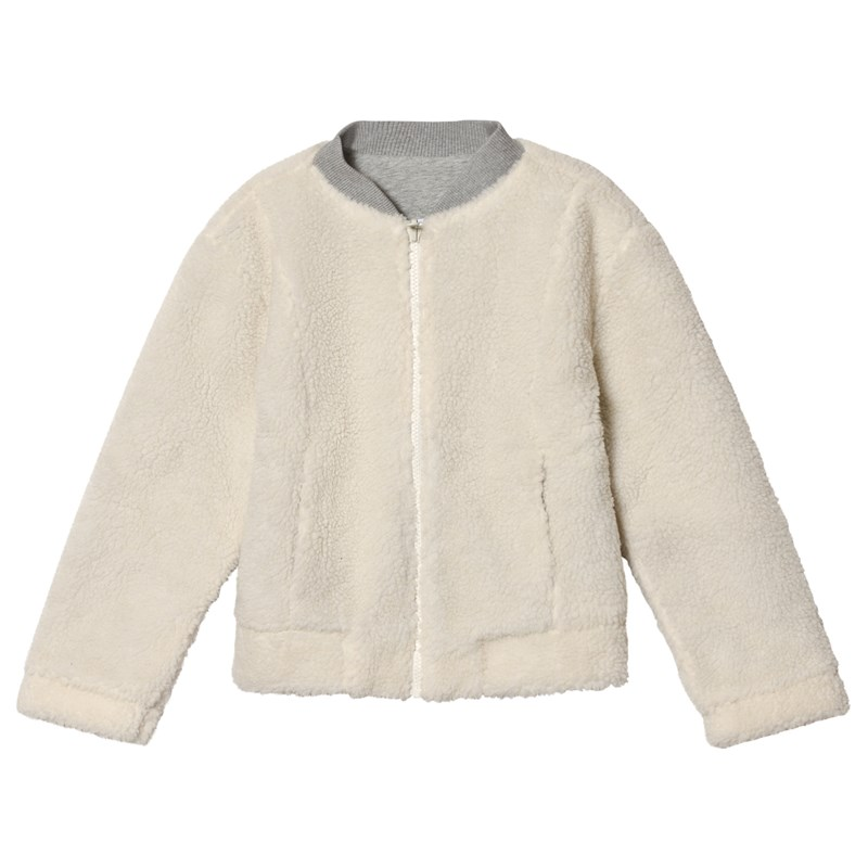 Lands' End Sherpa Fleece Bombar Jacka Natural 8-9 years