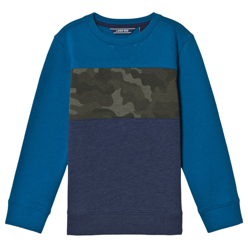Lands' End Camo Tröja Tranquil Teal 4 years