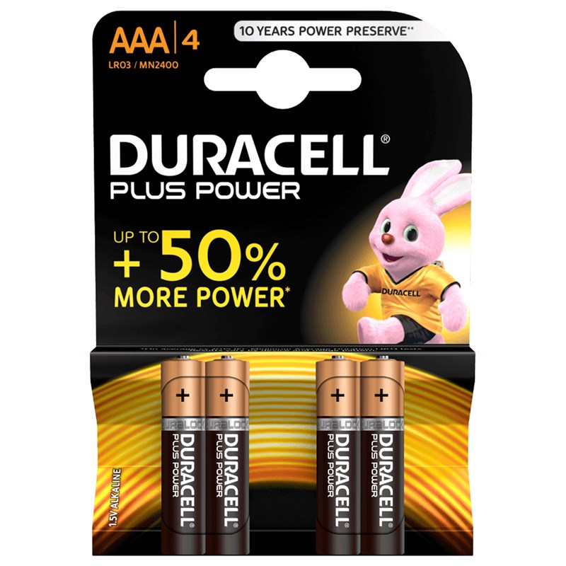 Duracell 4-Pack Plus Power AAA-batterier One Size