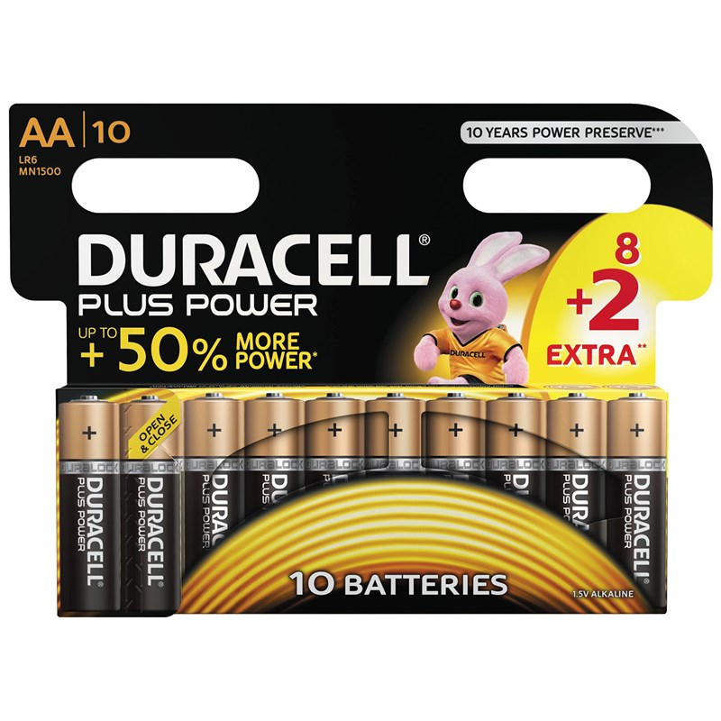 Duracell 8+2-Pack Plus Power AA-batterier One Size
