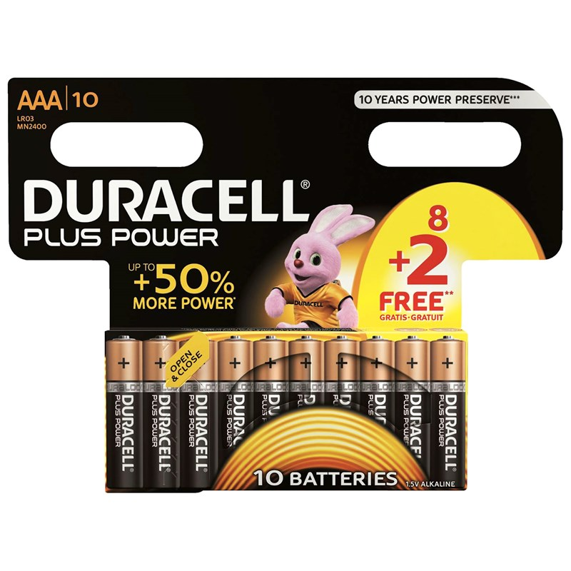 Duracell 8+2-Pack Plus Power AAA-batterier One Size