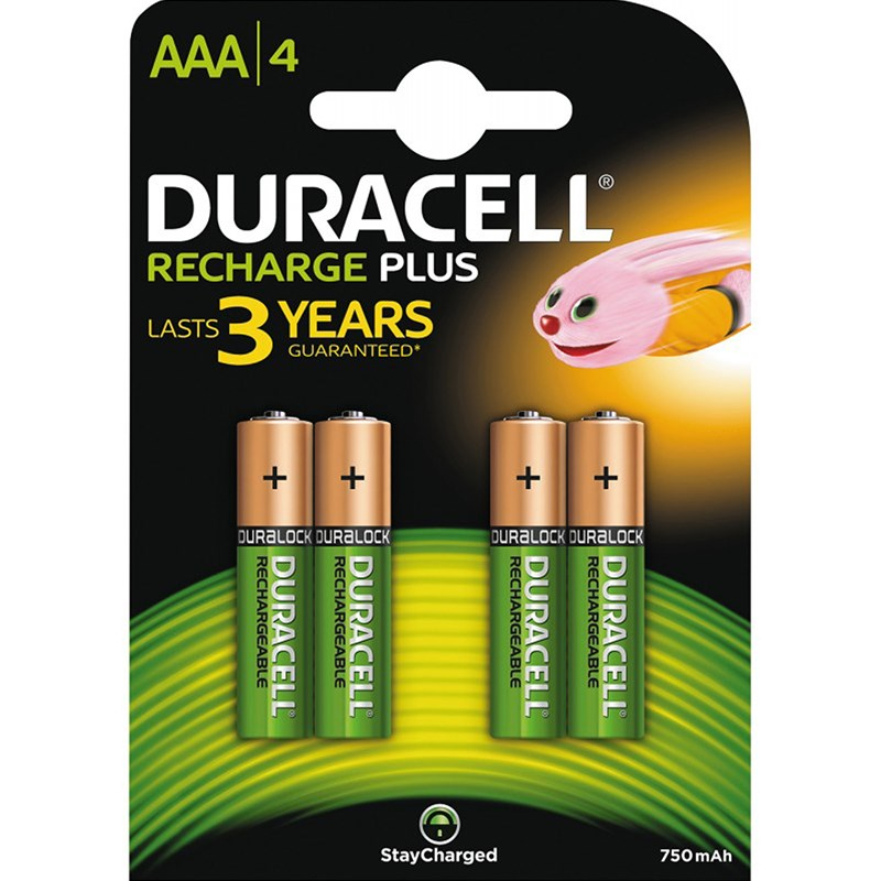 Duracell 4-Pack Recharge Plus AAA Uppladdningsbara Batterier One Size