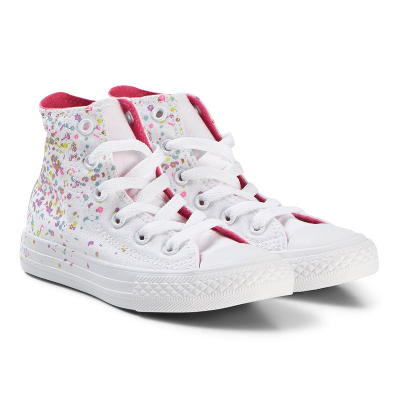 Converse White Confetti Chuck Taylor All Star Junior Hi Tops 33 (UK 1)