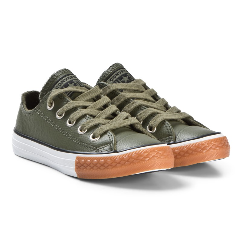 Converse Green Chuck Taylor All Star OX Junior Leather Trainers 37 (UK 4)