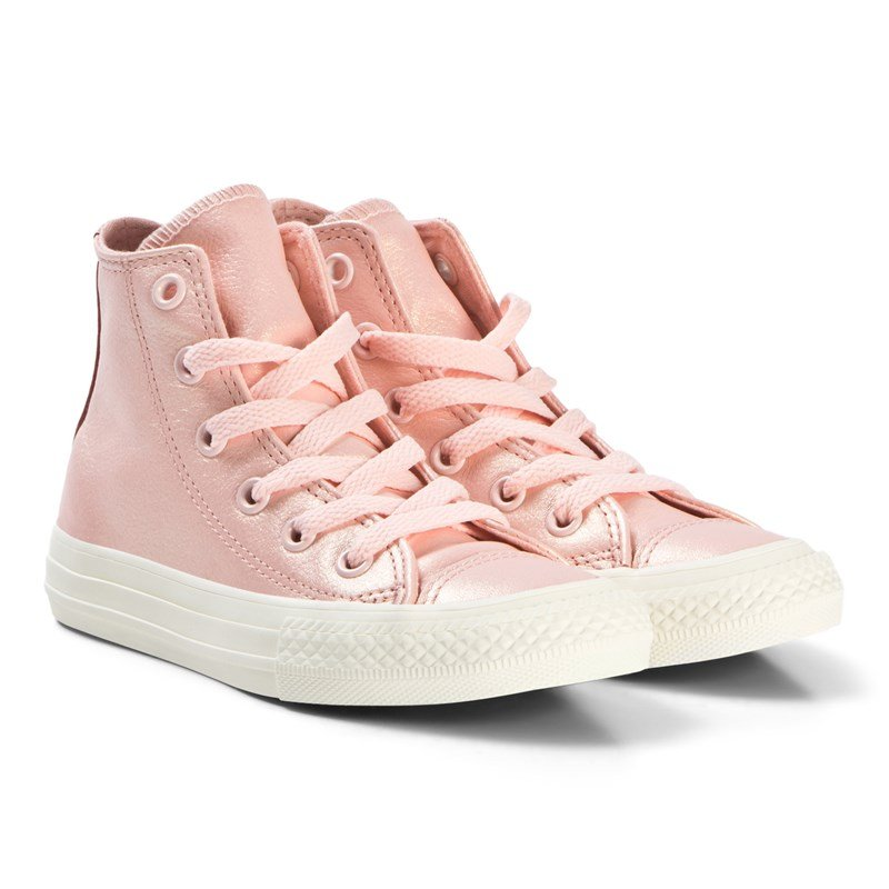 Converse Pink Chuck Taylor All Star Junior Leather Hi Tops 37 (UK 4)